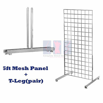 NEW 5ft HEAVY DUTY GRID WALL/GRIDWALL MESH CHROME DISPLAY PANEL WITH T-LEG pair