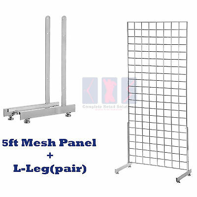 NEW 5ft HEAVY DUTY GRID WALL/GRIDWALL MESH CHROME DISPLAY PANEL WITH L-LEG pair
