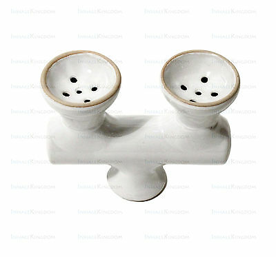 Double Head White Ceramic Bowl for Hookah Shisha Pipes - Dual 2 Head Hooka Bowl