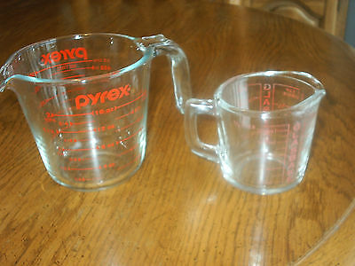 VTG Pyrex Glass Measuring 2-Cup Hook Handle + 1-Cup Glasbake Metric Red Letters
