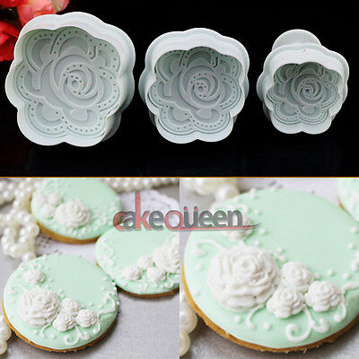 Cake Fondant Cookie Decorating Mold Cutter DIY Plunger Rose Blossom Icing Topper