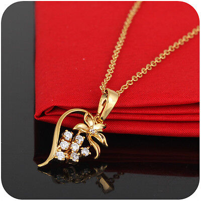 Luxury 18K Gold Plated Flower Shape Jewel Crystal Pendent Lady Womens Necklace