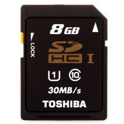 Original TOSHIBA SD HC SDHC CLASS 10 UHS-I U1 8GB FLASH MEMORY CARD NEW Camera