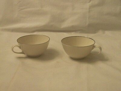 SYRACUSE CUPS CHINA COFFEE TEA SET TWO PAIR REPLACEMENT WHITE SILVER USA