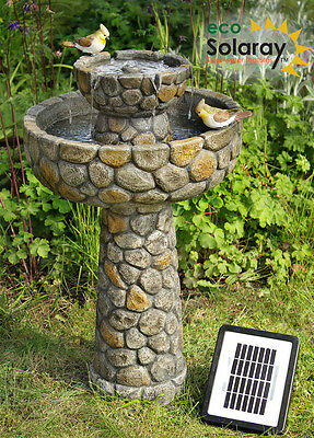 Cobbled Solar Bird Bath Water Feature Fountain Birdbath Bird Garden Outdoor New