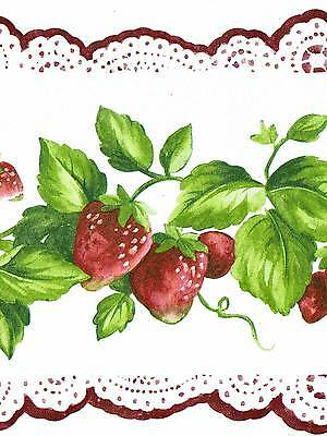 Sale $  Red Strawberries on White Lace   45 feet   Wallpaper Border 706B