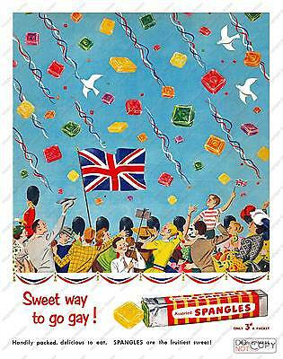 Spangles :  Vintage confectionery advert poster reproduction.