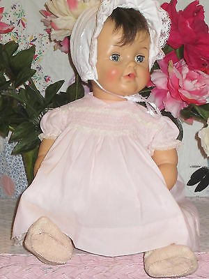 """Vintage Light Pink Nylon Crepe Smocked Bodice Fits a 24"""" Doll with a 15"""" Chest"""