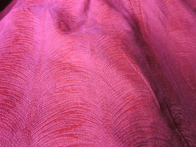 Vintage SPECTACULAR Mid Century Red Pink Feather Upholstery Drapery Fabric BTY