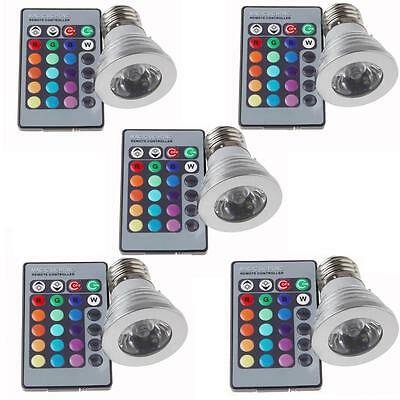 US ship 5 sets 3W E27 LED RGB Bulbs Light lamp16 Colors change Remote Controller
