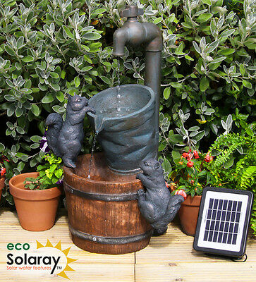 Solar Buckets & Tap Water Feature Fountain Cascade Outdoor Garden Patio New