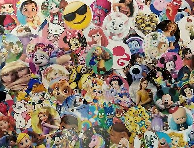 """25 - 150 Assorted Lot Pre-Cut 1"""" Bottle Cap IMAGES *HUGE NEW CHILDRENS VARIETY*"""