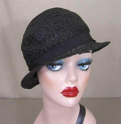 1930s straw cloche hat - black open weave with grosgrain ribbon & bow.