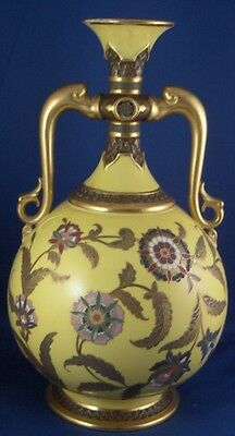 Rare 19thC Worcester Porcelain Aesthetic Period Yellow Ground Vase Porzellan
