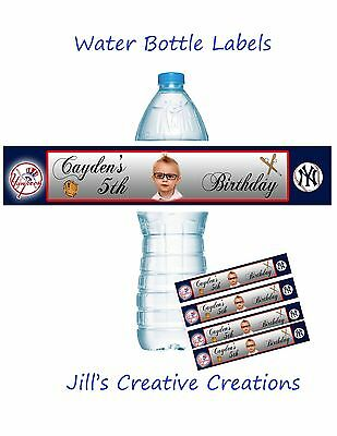 Baseball Water Bottle Labels, Baseball Party Supplies, Yankees, Sports Party