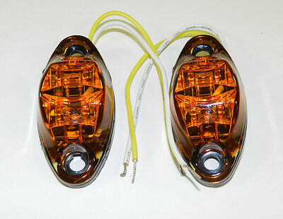 (2) Amber LED Camper Trailer Light 2 Diode surface mount Clearance Free ship
