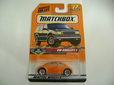 MATCHBOX 1997 ORANGE VW CONCEPT 1 ON CARD  #17 OF 75