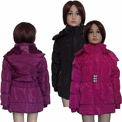 New Girls WARM Winter Jacket Padded Belted Coat Hooded Lined Anorak 5-14yrs #45