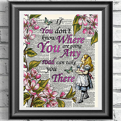 Alice in Wonderland dictionary book page print. Wall decor quotation poster pink