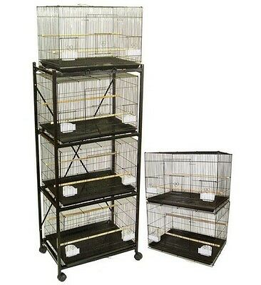 Lot of 6 Aviary Breeding Flight/Bird/Guinea Pig Cages 24x16x16 with Stand, Black