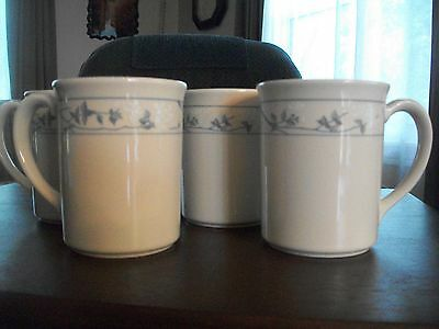 4 CORNING WARE CORELLE FIRST OF SPRING BEIGE COFFEE MUGS CUP BLUE FLOWERS