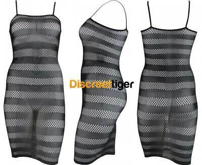 Bodystocking Black Medium Weave Fishnet Dress Stripes Sizes 6 to 16
