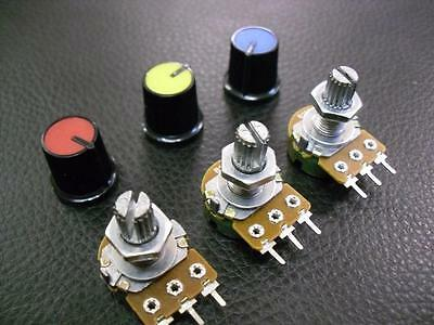 3 Pieces 50K Linear Potentiometer Pot B50K + Coloured Knobs :: Variable Resistor