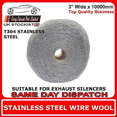 """10m x 3"""" Wire Wool Wrap For Exhaust Silencers Stainless Steel T304 - High Grade"""