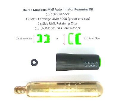 United Moulders Mk5 Auto Inflator Rearming Kit - select cylinder and clip size