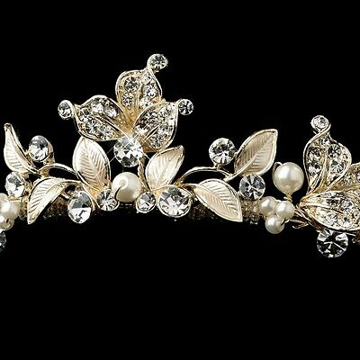 Gold Silver Ivory Pearl Leaf Design Rhinestone Bridal Tiara Princess Prom Crown