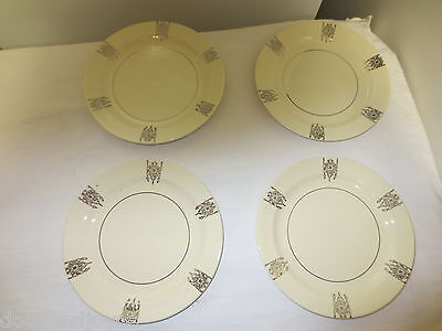 """Lot 4 Older Taylor Smith Taylor USA Small 6 1/4"""" Plates -Gold Shield Style Trim"""