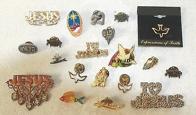 20 PC VINTAGE TO NOW CHRISTIAN JESUS WWJD FISH DOVE BROOCH PIN JEWELRY LOT 19