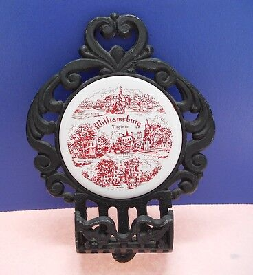 Vintage Round Tile Trivet Surrounded By Cast Iron With Tray (Wall Hanging)