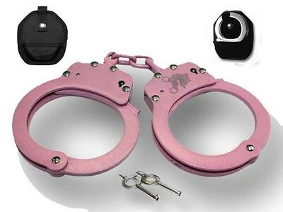 Heavy Duty Pink Chained Police Security Handcuffs W Case & Keys Double Lock Nib