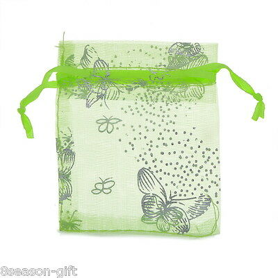 25pcs 9x12cm Green Butterfly Organza Gift Pouch Bags Wedding X-mas Favor