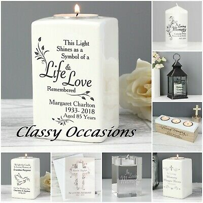 Personalised In Loving Memory T Light Candle Holder Wedding Remembrance Memorial