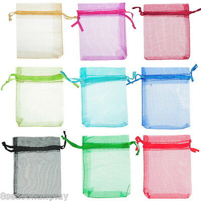 100Pcs 7x9cm Mixed Random ORGANZA Wedding Favour GIFT BAGS Jewellery Pouches