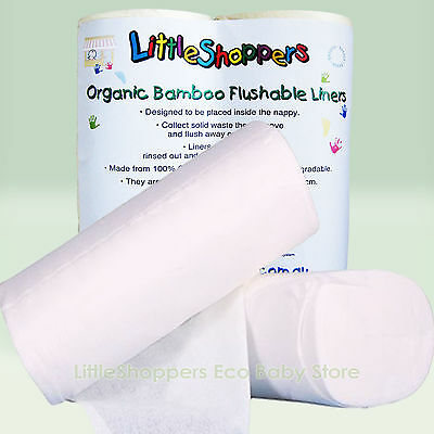 300 PACK BAMBOO Flushable Liners Nappy Insert Cloth Biodegradable NATURAL Liner