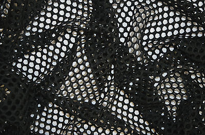 Black Fish Net Airtex Mesh Fabric Polyester Stretch Material 3 To 4 Mm Holes