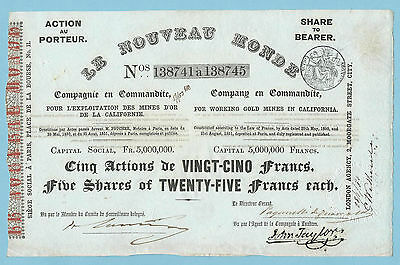 Le Nouveau Monde (Gold Mines in California) share certificate dated 1851.