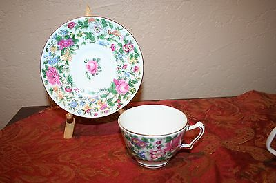 Vintage Crown Staffordshire England Fine Bone China Floral Cup and Saucer