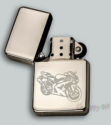 ENGRAVED MOTORBIKES design In Metal Tin STAR Petrol LIGHTER  Personalised