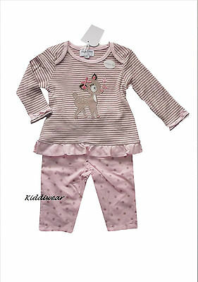 Baby girl's long sleeve t-shirt & denim trouser set pink 0-3 months cotton jeans