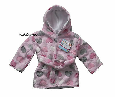 Baby girl's hooded robe,0-3 months,Pink/multi(dressing/bath/night gown/bed/soft)