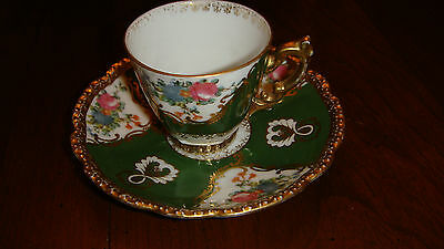 DEMITASSE CUP AND SAUCER - GREEN WITH PINK FLOWERS - FINE CHINA