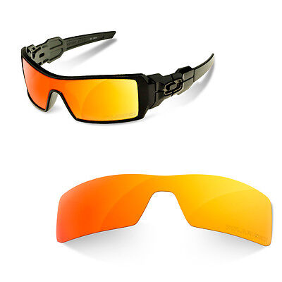 Polarized  Engravin Replacement Lenses for OAKLEY OIL RIG fire iridium