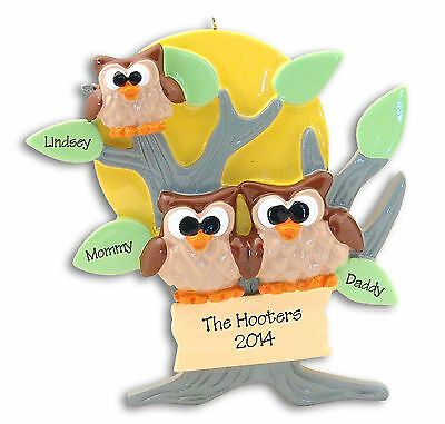 OWL FAMILY OF 3 Personalized CHRISTMAS Ornament - Hand painted RESIN Deb & Co.