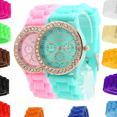 Lady Girl Golden Crystal Silicone Quartz Stone Jelly Ladies Wrist Watch