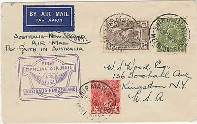 Australia New Zealand 1934 Kgv  First Official Airmail Cover