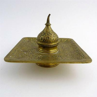19th CENTURY PERSIAN BRASS INK WELL AND PEN STAND